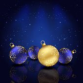 Blue background with Christmas baubles