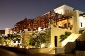 Night Illumination Of Restaurant At Luxury Hotel, Ras Al Khaima, Uae