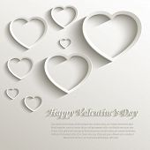 foto of february  - vector heart happy Valentine day love paper 3D natural - JPG