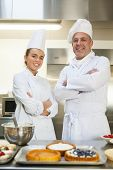 Smiling chef and head chef standing arms crossed looking at camera