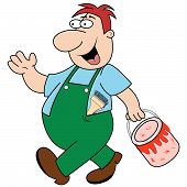 Workman Carrying Paint Pot