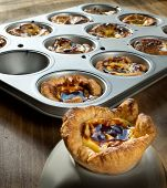 stock photo of pasteis  - Pasteis de Belem typical Portuguese custard pies - JPG