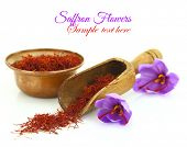 stock photo of saffron  - Dried saffron spice and Saffron flower isolated on white - JPG