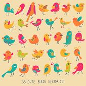 Set of 33 bright beautiful birds in vector. Cartoon collection with cute little birds family.