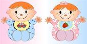 Twin Baby Boy And Girl.