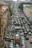 ST.PETERSBURG, RUSSIA - JUN 27: Cars stands in traffic jam on the city center, Jun 27, 2013, SPb, Ru