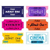 Set of six colored tickets
