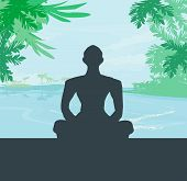 Yoga Meditation Silhouette By Man At Palms, Ocean And Sunset Sky Background