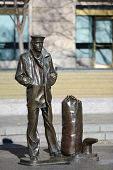 WASHINGTON, D.C. - JAN 20, 2013: Lone Sailor Statue at Navy Memorial which honors those who served