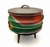 picture of afrikaner  - A traditional cast iron potjie pot painted in the south african flag colors on an isolated background - JPG