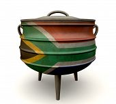 stock photo of afrikaner  - A traditional cast iron potjie pot painted in the south african flag colors on an isolated background - JPG