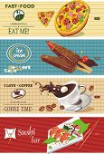 Background vector with coffee cup, pizza, ice cream and sushi. Vector illustration