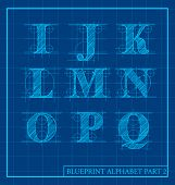 picture of initials  - vector blueprint style font alphabet set 2 - JPG