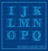 vector blueprint style font alphabet set 2