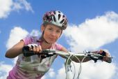 Girl With Bicycle. Close Shot