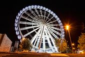 Working big wheel at night in Zaragoza Spain