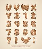 Christmas cookie alphabet. Vector font.