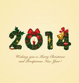 Happy New Year 2014. Christmas greeting card.