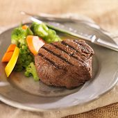 pic of braai  - grilled steak on plate with vegetables - JPG