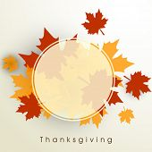 stock photo of happy thanksgiving  - Happy Thanksgiving Day background with beautiful autumn maple leaves - JPG