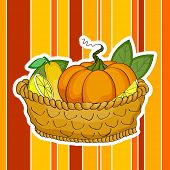 Happy Thanksgiving Day concept with wooden basket full of fruits and vegetables on colorful vintage background.