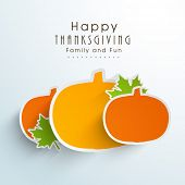 Creative Happy Thanksgiving Day stickers, labels or tag in pumpkin shapes on blue background.