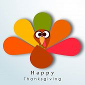 Beautiful, colorful cartoon of turkey bird for Happy Thanksgiving celebration, can be use as flyer, poster or banner.