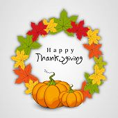 Happy Thanksgiving Day concept with beautiful autumn leaves and pumpkins, can be use as flyer, banne
