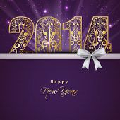 Beautiful Happy New Year 2014 celebration background with floral decorated golden text and white ribbon on purple background.