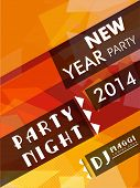 Happy New Year 2014 party night celebration flyer, banner, invitation or poster.