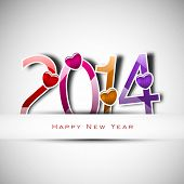 Happy New Year 2014 celebration background with glossy colorful text and heart shape on grey background.