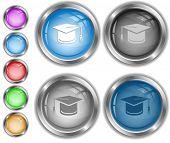 Graduation cap. Raster internet buttons.