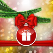 Red Bow And Red Sticker With Gift Sign Hanging On Christams Tree Branch On Bokeh Abstract Background