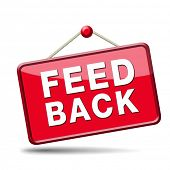 feedback icon. Testimonials and comments help to survey customer satisfaction