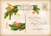 Christmas Vintage Holiday Vector Postcard