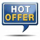 hot offer icon or sign for online internet web shop concept. Webshop shopping sales button announcin