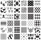 Set of monochrome geometric seamless patterns. Vector backgrounds collection.
