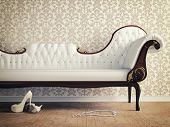 foto of shoe  - vintage sofa and wallpaper wall  - JPG