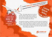 Orange template for advertising brochure with airplane pulling a banner