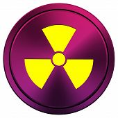 stock photo of radium  - Metallic icon with yellow design on mauve background - JPG