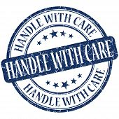 Handle With Care Grunge Blue Round Stamp