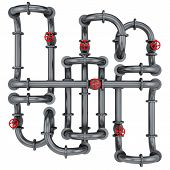 pipes with red valves