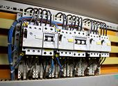 stock photo of busbar  - Control panel with circuit breakers  - JPG