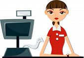 picture of cash register  - An Illustration of a Girl Cashier against white background - JPG