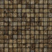 Cracked Mosaic Tile Worn Old Wall Floor Brown