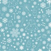 Seamless Pattern With Snowflakes And Christmas Symbols
