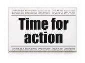 Timeline news concept: newspaper headline Time for Action
