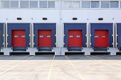stock photo of loading dock  - Modern warehouse exterior with loading dock doors - JPG