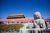 Beijing-feb 2013: A Soldier Guards The Main Entrance Of Tiananmen Gate Of Heavenly Peace, Monument O