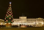 Christmas Tree And Mariinskiy Palace, St. Petersburg